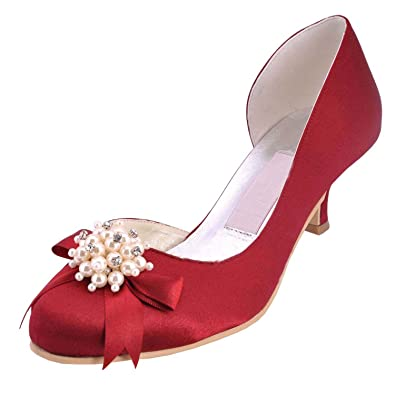 e43da90031b Minishion Womens Kitten Heel Burgundy Satin Wedding Party Evening Prom Pumps  Shoes 5 M US
