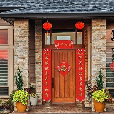 Auihiay Ensemble de 9 pi/èces pour couple chinois comprenant un panneau de porche du Nouvel An chinois et des lanternes rouges pour d/écorations de festival du printemps 2021