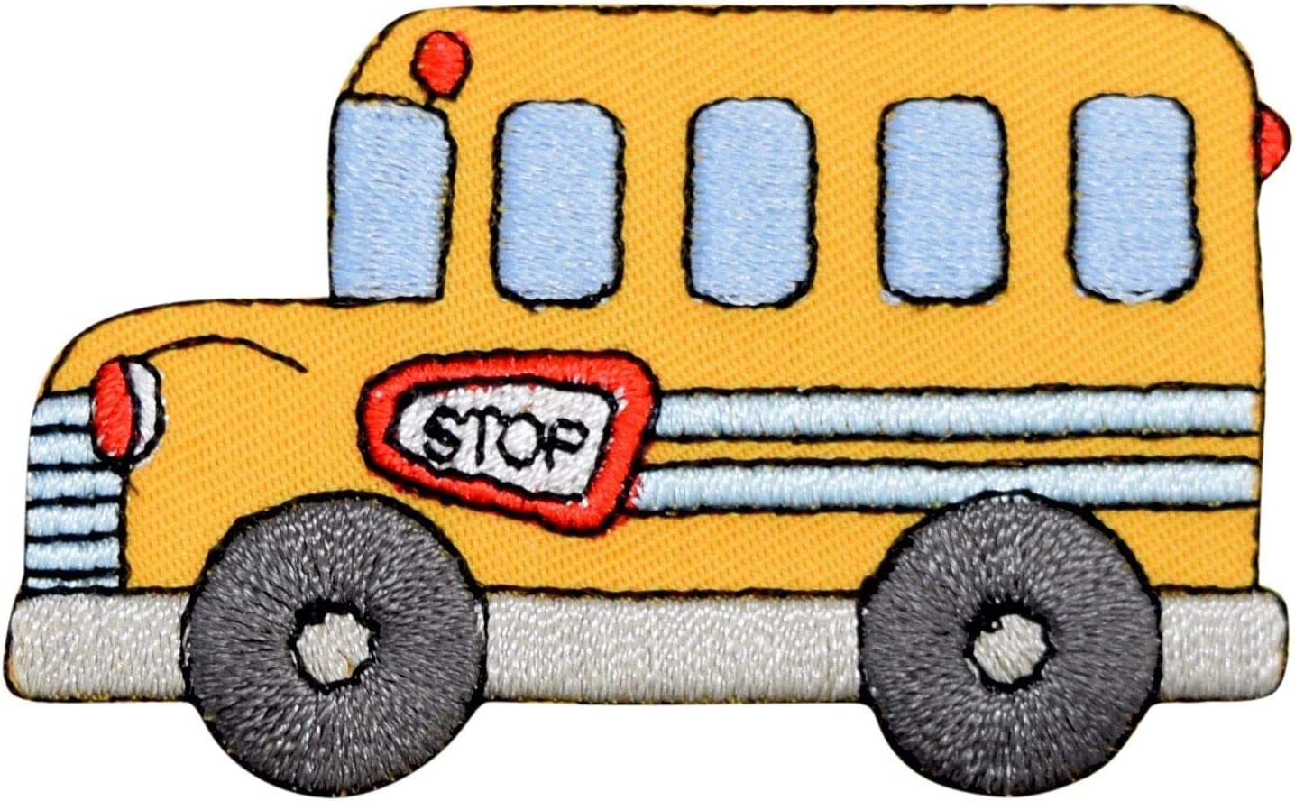 Yellow Children/'s School Bus//Vehicle Iron on Applique//Embroidered Patch