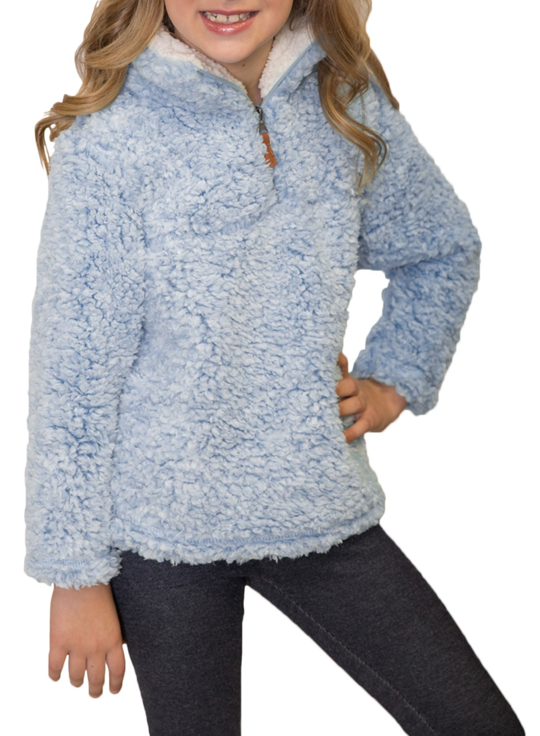 ZESICA Girls Kids 1/4 Zip Pebble Pile Sherpa Fleece Pullover Jacket Tops ZEDec13
