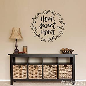 Home Sweet Home Decal - Farmhouse Decor - Laurel Wall Sticker