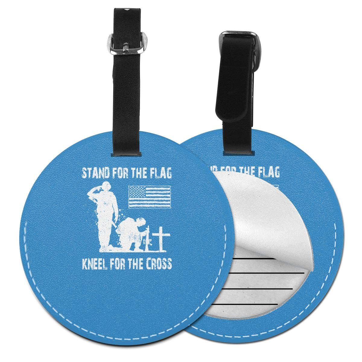 I Proudly Stand For The Flag And Kneel For The Cross Pu Leather Double Sides Print Round Luggage Tag Mutilple Packs 1pcs,2pcs,4pcs