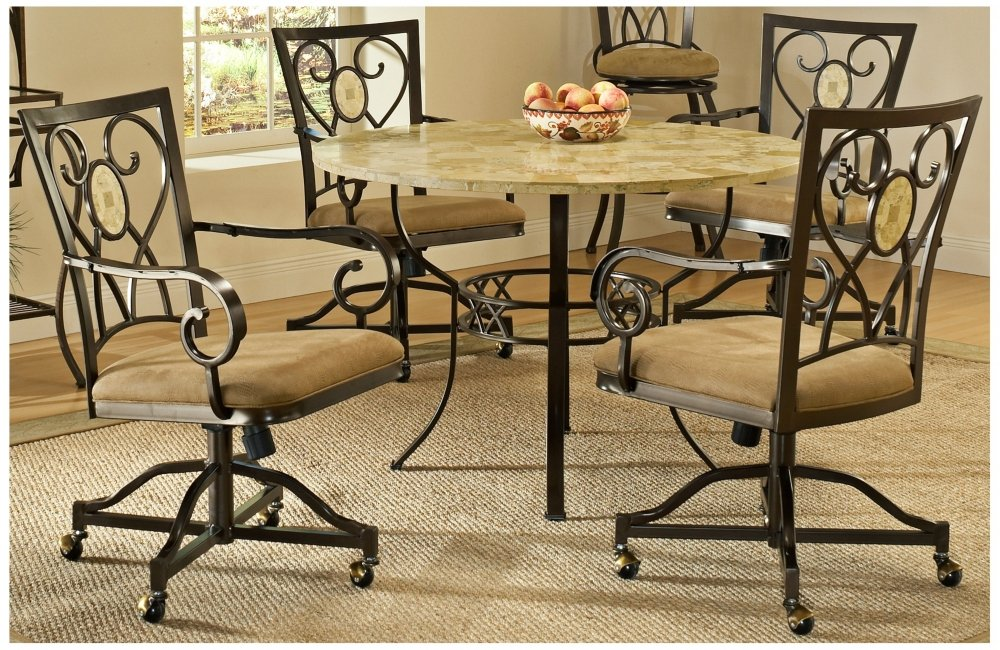 Amazon.com - Brookside 5 Pc Round Dining Set w Oval Caster Chair - Table &  Chair Sets - Amazon.com - Brookside 5 Pc Round Dining Set W Oval Caster Chair