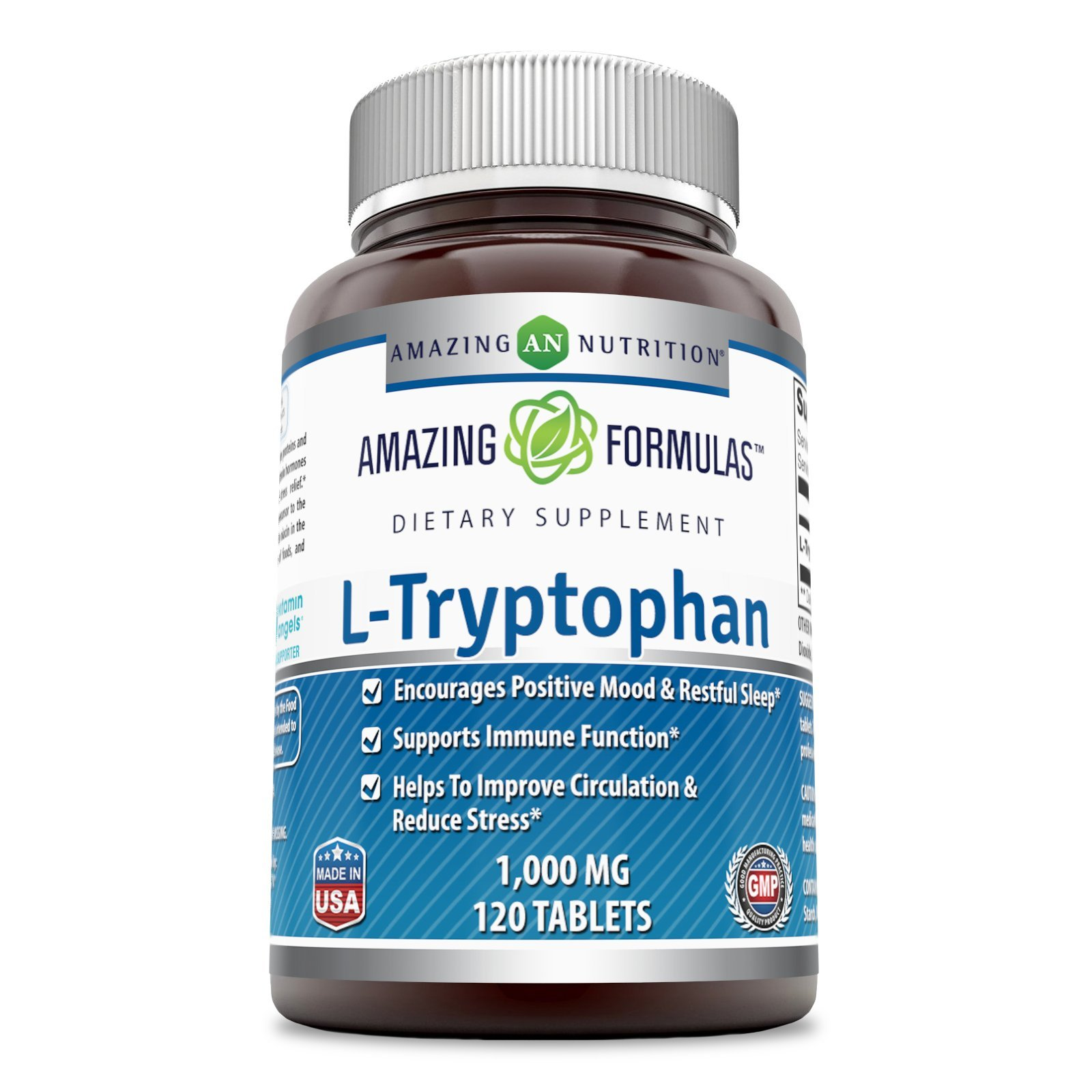 Amazing Formulas L-Tryptophan - 1000 Mg, 120 Tablets - Encourages Positive Mood & Restful Sleep - Supports Immune Function - Helps to Improve Circulation & Reduce Stress.