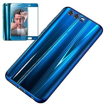 Funda Gel + Protector de Cristal Templado para Huawei Honor 9, Estuyoya Silicona Transparente Honor 9 Gel Case Protector Tempered Glass Huawei Honor 9 ...