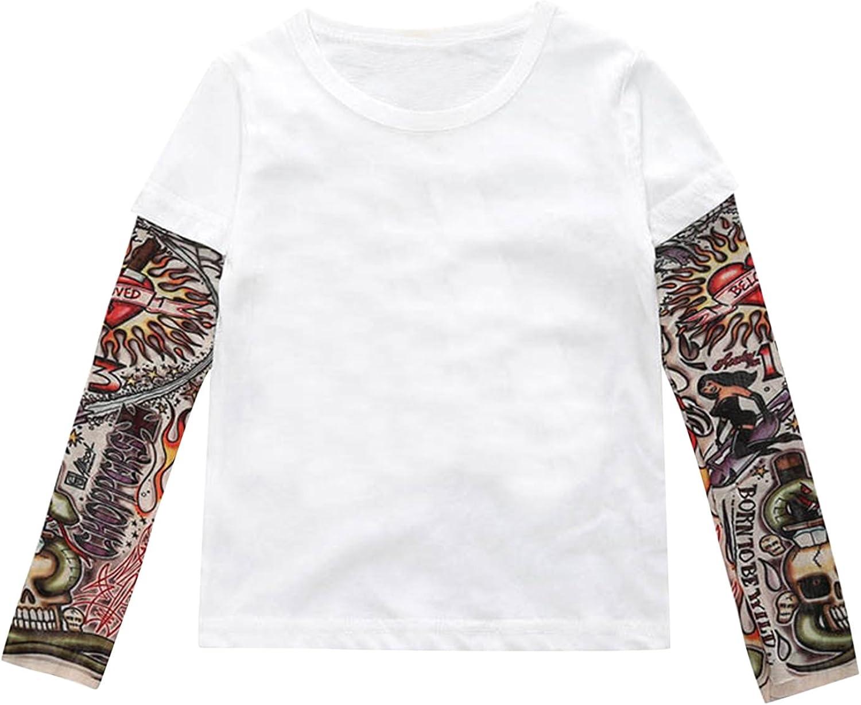 De feuilles Kids Baby Boys Long Sleeve Tattoo Print T-Shirt Tops Casual Clothes