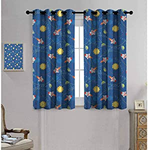 "Mademai Space Decor Curtains by Cute Little Cartoon Rocket with Circular Flight Path and UFOs Sun Polka Dots Skyline 55""x 45"" Multicolor"