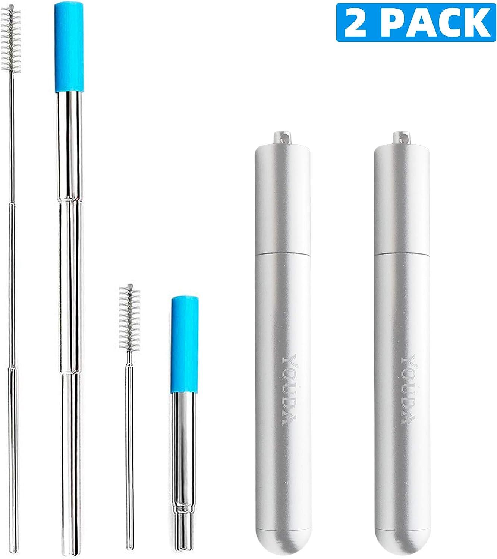 JOYECO pailles m/étalliques Pliantes r/éutilisables Paille Portable en Acier Inoxydable t/élescopique r/éutilisable avec Une Brosse de Nettoyage Or Rose 1 Paquet