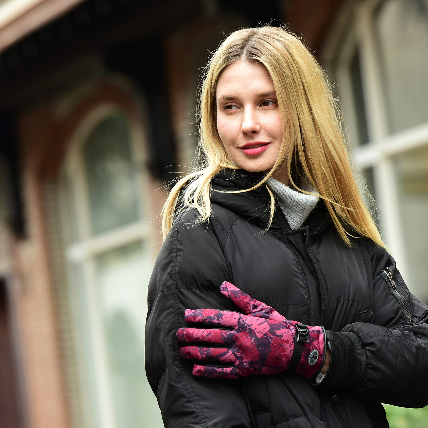 Vgo.. Driving/&Texting Ladies 0℃//32℉ or Above 3M Thinsulate C40 Lined Winter Outdoor Gloves Designed for Running Cycling 1Pair,Red/&Black,SL221FW-W