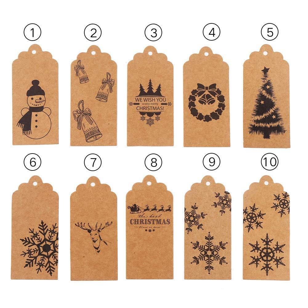 Weihnachts-Geschenkanhänger, 100 Stück, Kraftpapier, für Weihnachten ...