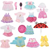 Huang Cheng Toys Set of 12 Handmade Alive Lovely Baby Doll Clothes Dress Outfits Costumes For 14-15-16 Inch Dolly Pretty Doll Cloth Hat Cap Umbrella Mirror Comb Girl Christmas Birthday Gift