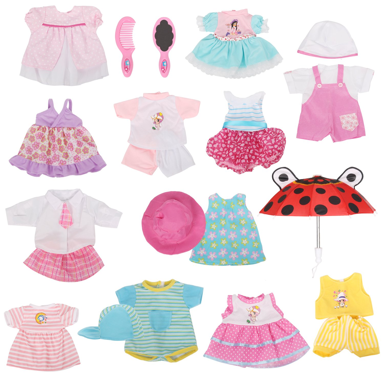 Huang Cheng Toys 12 Pcs Set Handmade Lovely Baby Doll Clothes Dress Outfits Costumes for 14 to 18-inch American Girl Cloth Hat Cap Umbrella Mirror Comb Girl Christmas Birthday Gift for Little Girl
