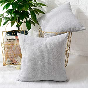 MERNETTE Pack of 2, Chenille Soft Decorative Square Throw Pillow Cover Cushion Covers Pillowcase, Home Decor Decorations for Sofa Couch Bed Chair 16x16 Inch/40x40 cm