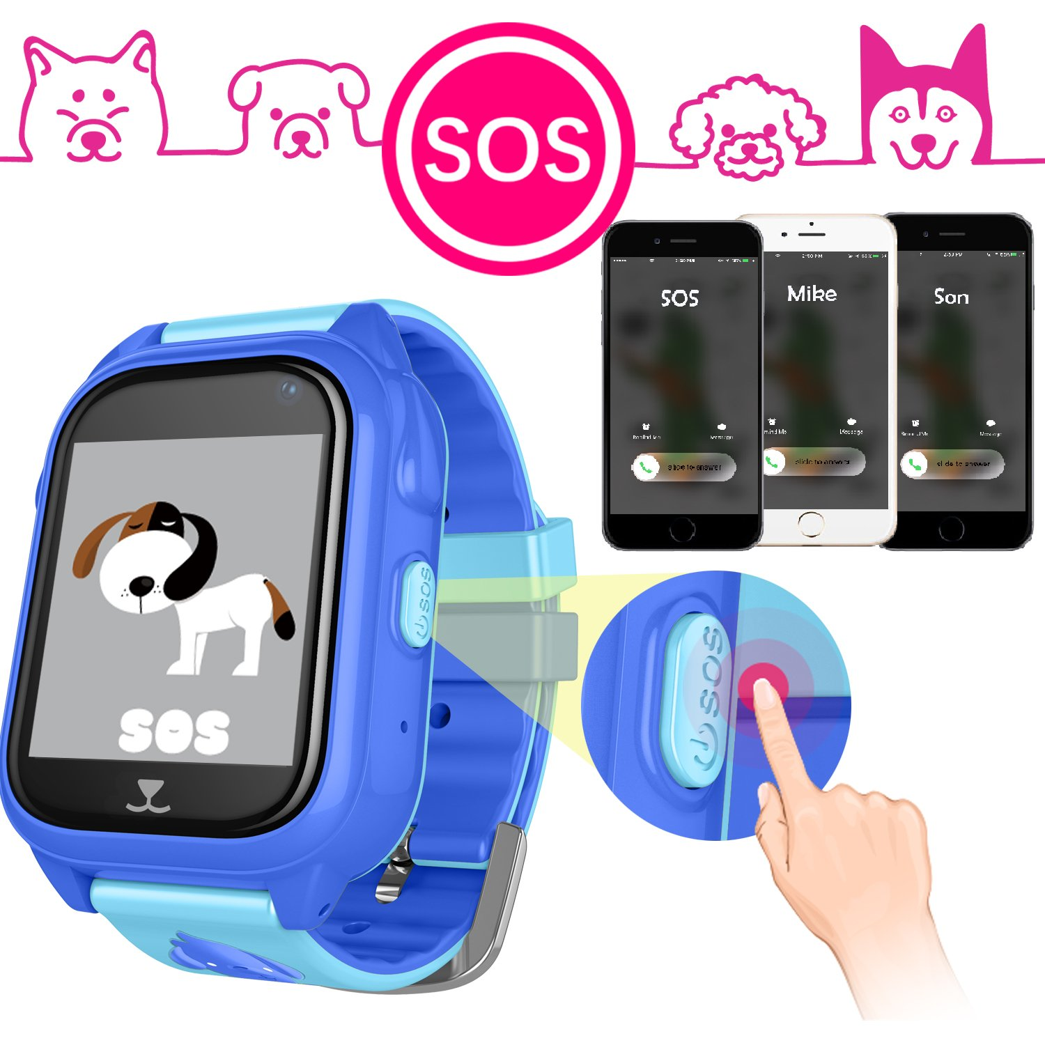 iCooLive Waterproof IP67 Kids Smart Watch Accurate GPS Tracker with FREE SIM CARD for Kid Boys Girls Smartwatch Phone watch Game watch with SOS Call Camera Electronic Learning Toys Birthday Gift by iCooLive (Image #9)