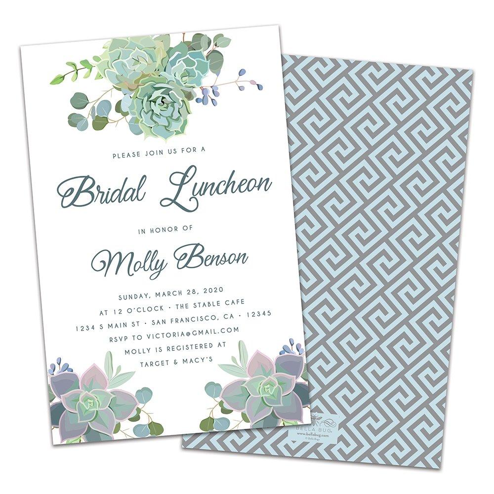 Amazon Com Succulents Personalized Bridal Luncheon Invitations