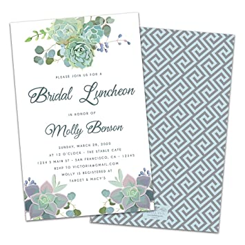 amazon com succulents personalized bridal luncheon invitations