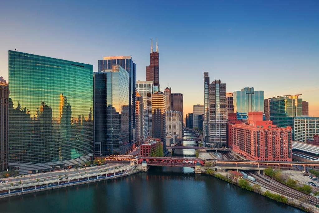Chicago Illinois Downtown River at Dawn Skyline Photo Cool Wall Decor Art Print Poster 36x24