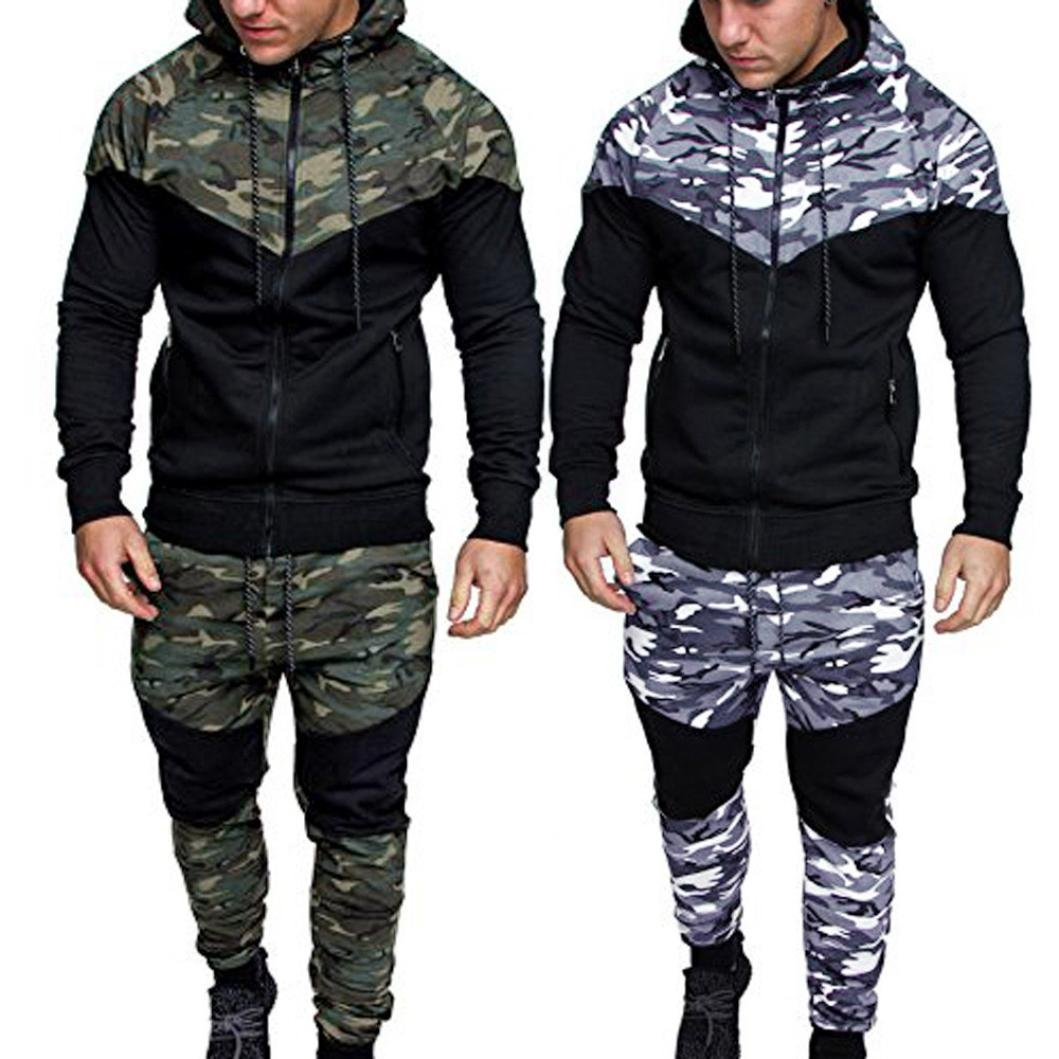 Dreamyth Mens Autumn Winter Camouflage Sweatshirt Top Pants Sets Sports Suit Tracksuit 2020