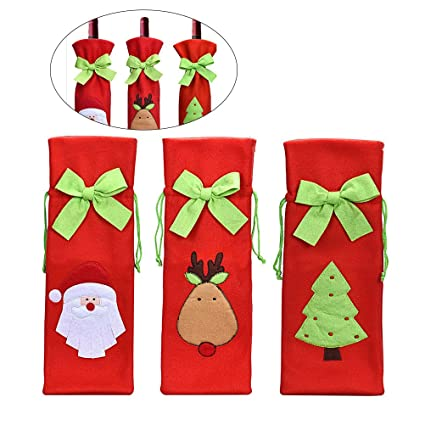 TINKSKY 3pcs Cute Christmas Santa Claus Reindeer Christmas Tree Pattern  Drawstring Wine Bottle Cover Bags Home 078957561076f