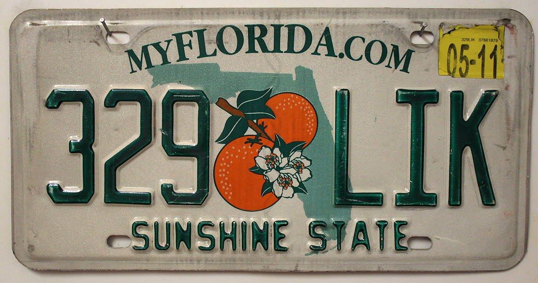 USA Nummernschild FLORIDA °° SUNSHINE STATE °° US Kennzeichen Motiv ORANGEN