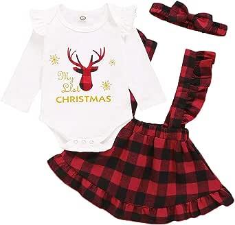 Baby Girls My First Christmas Outfit Vestido de Falda de tutú de Mameluco de Manga Larga Conjunto de Diadema