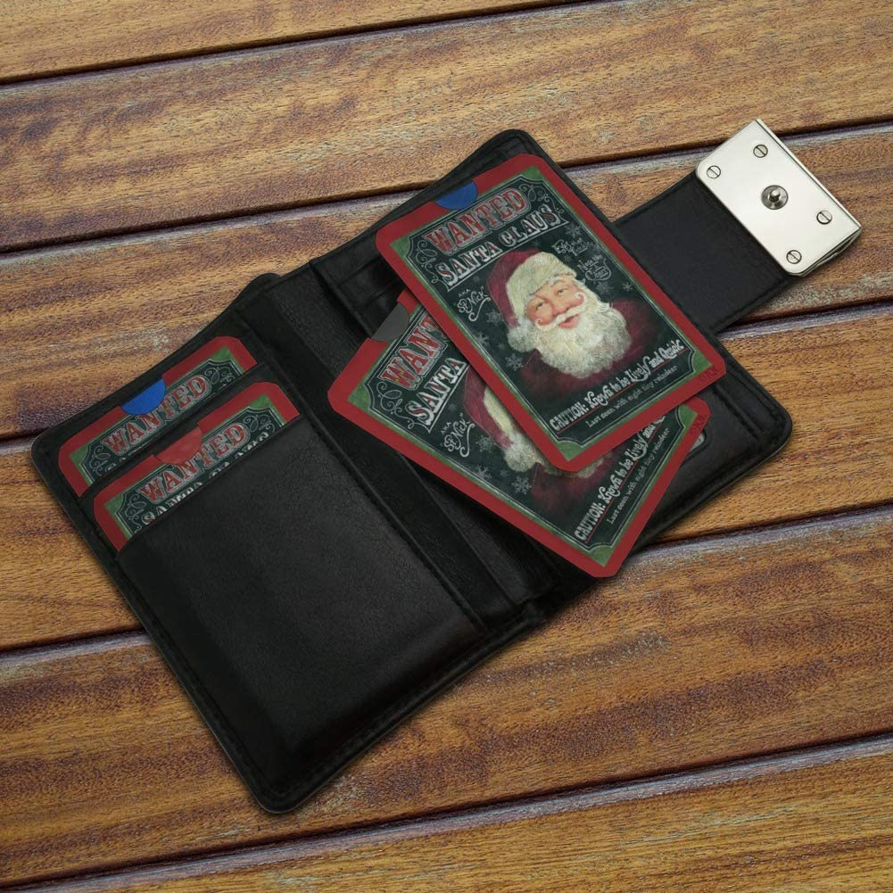 Christmas Holiday Santa Claus Wanted Poster Chalkboard Credit Card RFID Blocker Holder Protector Wallet Purse Sleeves Set of 4