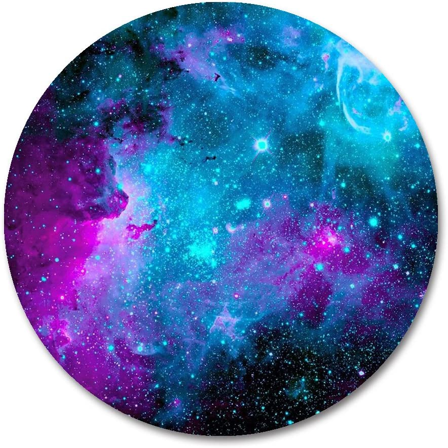 Galaxy Round Mouse Pad by Smooffly,Blue Purple Galaxy Customized Round Non-Slip Rubber Mousepad Gaming Mouse Pad 7.87