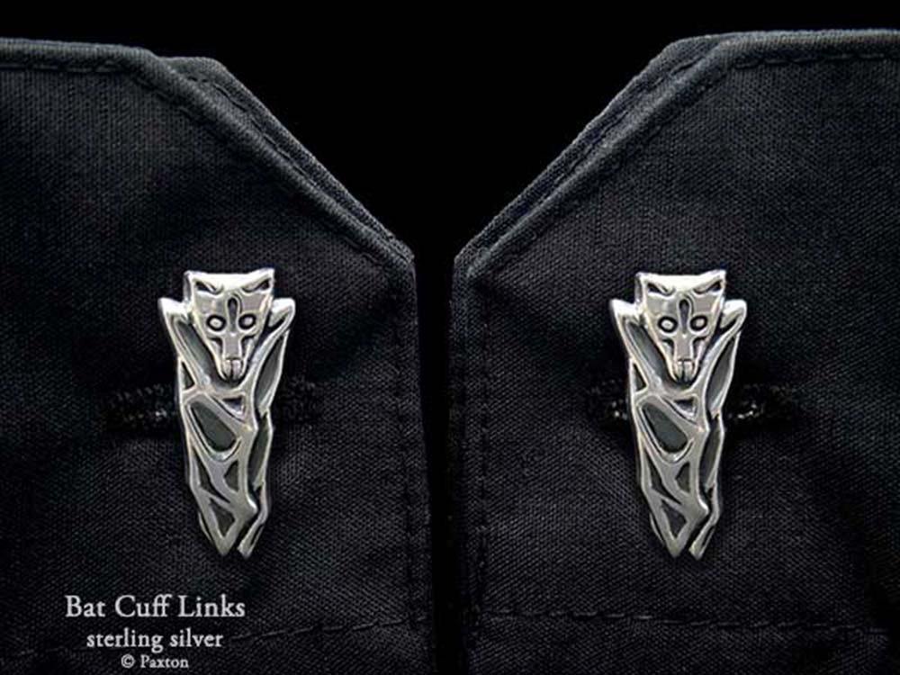 Bat Cuff Links in Solid Sterling Silver Hand Carved & Cast by Paxton