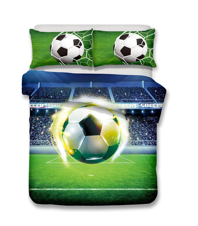 Helengili 3D Digital Printing Bedding Set Football Soccer Center Forward Bedding Bedclothes Duvet Cover Sets Bedlinen 100 Percent Microfiber Present California King