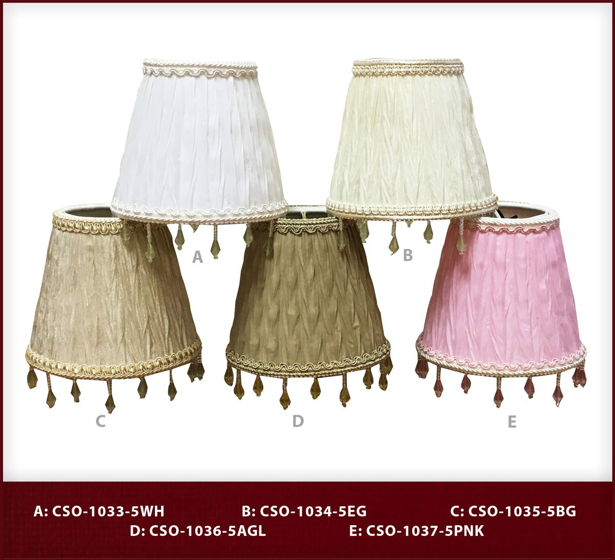 Ruche Pleated Empire Clip-On 3 x 5 x 4.5 Inc CSO-1037-5PNK-6 Royal Designs Chandelier Lamp Shades Royal Designs Set of 6 6 Piece Pink