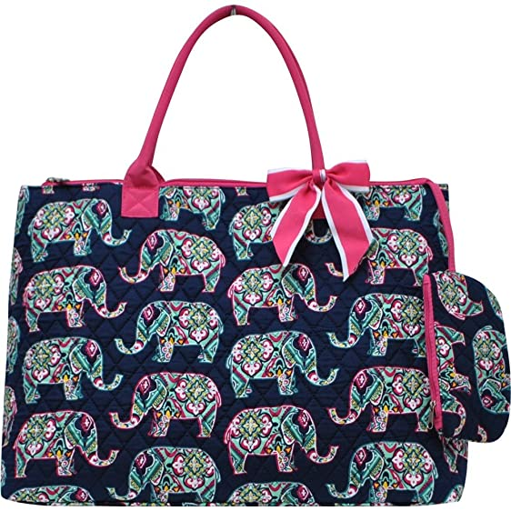 Amazon.com | Floral Elephant Print Quilted Over Night Shopping ... : quilted floral tote bags - Adamdwight.com