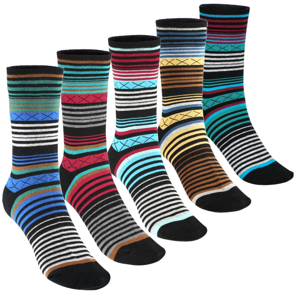 Tselected Women's Classic Dress Socks Colorful Warm Funny Casual Crew Vintage Style US Size 6-11 5 Pack by Tselected (Image #1)
