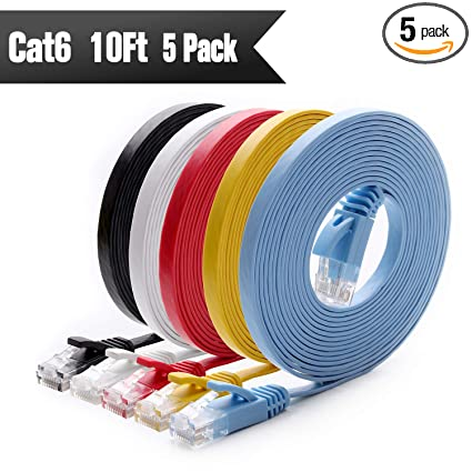 Astonishing Amazon Com Cat 6 Ethernet Cable 10 Ft 5 Pack At A Cat5E Price Wiring Database Pengheclesi4X4Andersnl