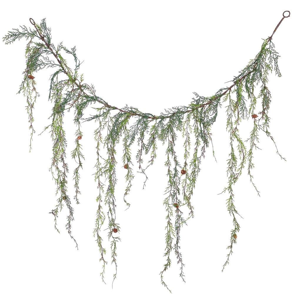 Vickerman Unlit Weeping Cedar Artificial Garland Artificial Pine Cones, 4'