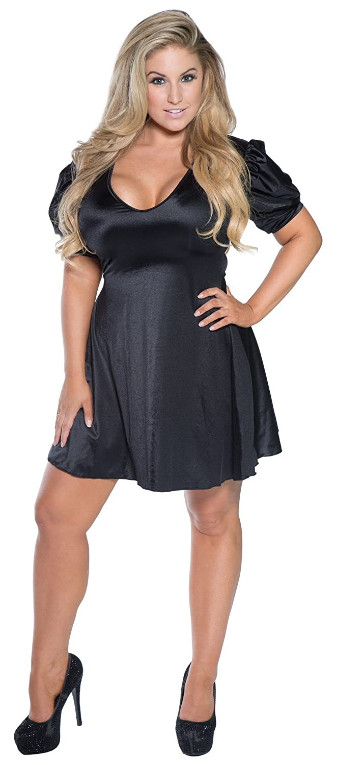 Womens Plus Size Little Black Skater Dress with Puff Sleeves