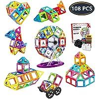 Jasonwell Bloques Magneticos Juguetes Didacticos 3D Creativos y Educativos Mejor Regalo Aprenda El Color y La Forma Juguetes para Niños de 3 4 5 6 7 8 9 Años (108 Piezas)
