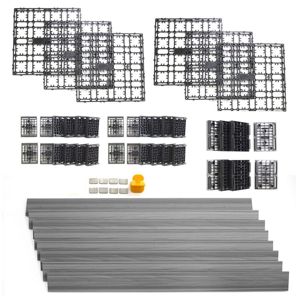 NewTechWood DAF-8-GY 8.64-Square Feet Deck-A-Floor Modular Composite Flooring System Kit, Gray