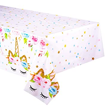 Unicorn Themed Birthday Party Decorations Unicorn Plastic Tablecloth 53 X 90 Inches Disposable Table Cover Magical Unicorn Party Supplies For