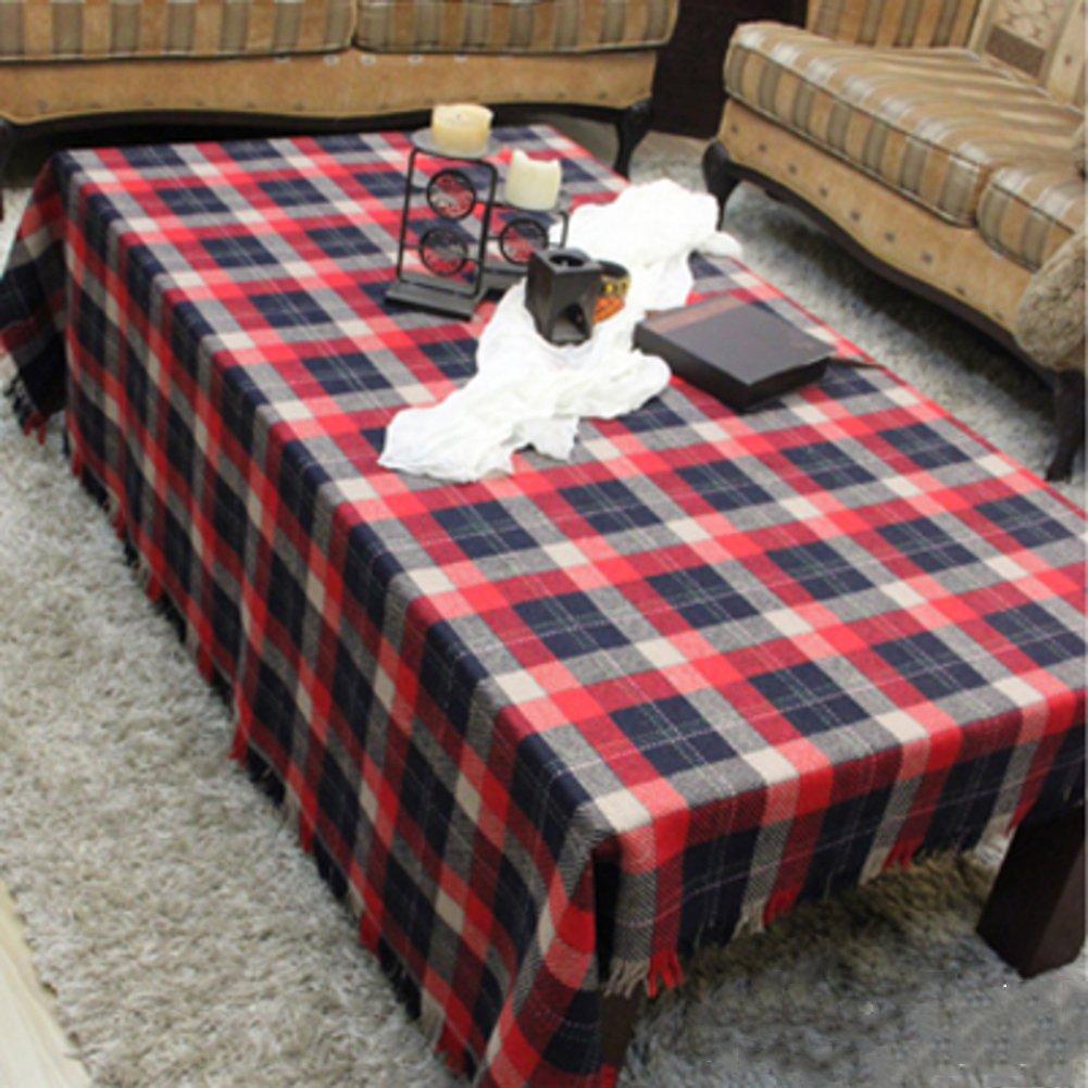 Garten dorf Karierte tischdecke,Tischdecke für esszimmer Cafe Teetisch Tischtuch Leinen tischtücher Obere abdeckung tabelle-D 140x140cm(55x55inch) B07BRY69SJ Tischdecken Meistverkaufte weltweit  | Neuartiges Design