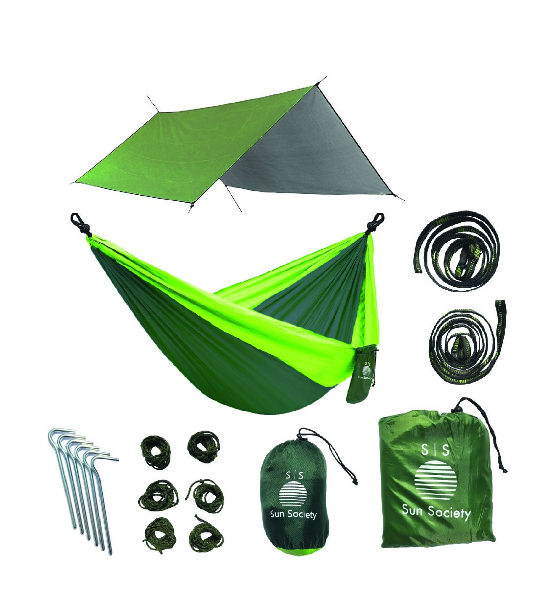 Extra Large軽量リップストップキャンプハンモック、防水雨よけバンドル。高品質Camping Gear for the Serious Camper。 B075SSQWBG