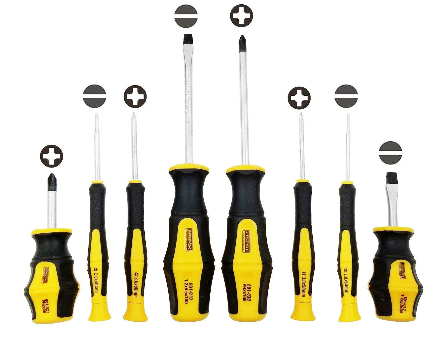 Professional Screwdriver Set,8 Pieces Phillips and Slotted Magnetic Screwdriver,Craftsman Toolkit,Big and Micro-Fine Grip, NON-Slip,Rust Resistant,Magnetic Design (8 pack)