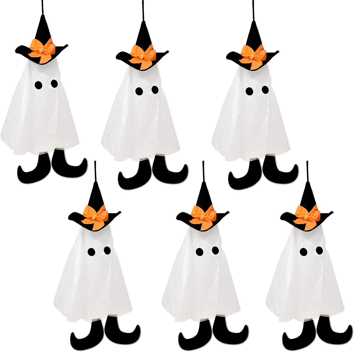 "6 Pack Halloween Party Decoration Hanging Ghosts 2.25"" Cute Flying White Ghost with Black Witches Hat for Outdoor Front Porch Yard Patio Lawn Garden Holiday Home Decor"