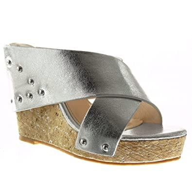 efb312cfd Angkorly - Women s Fashion Shoes Sandals Mules - Platform - Studded - Thong  - Cork Wedge