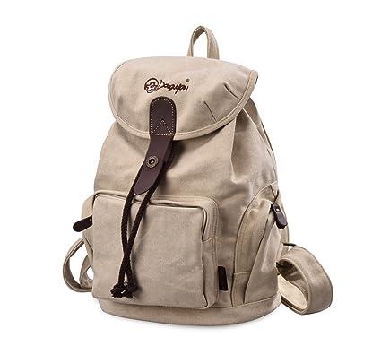 Gezu Casual Canvas Backpack School Bag for Teenage Girls Women for College  GZ117 Beige  Amazon.co.uk  Luggage f3e0f7fbfb