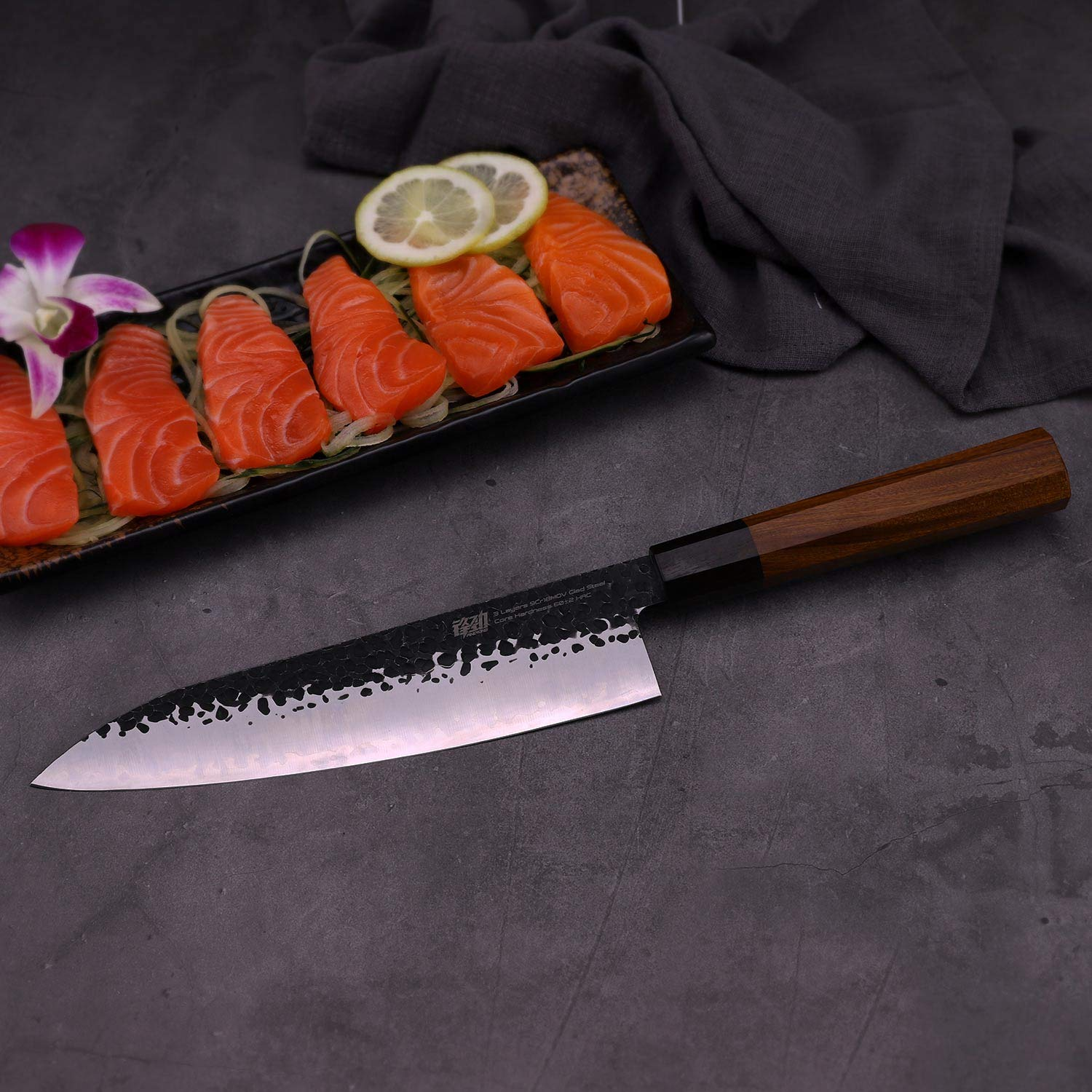 8 Inch Chef Knife by Findking-Dynasty series-3 layer 9CR18MOV clad steel w/octagon handle Gyuto Knife (8 inch chef knife) by FINDKING (Image #6)