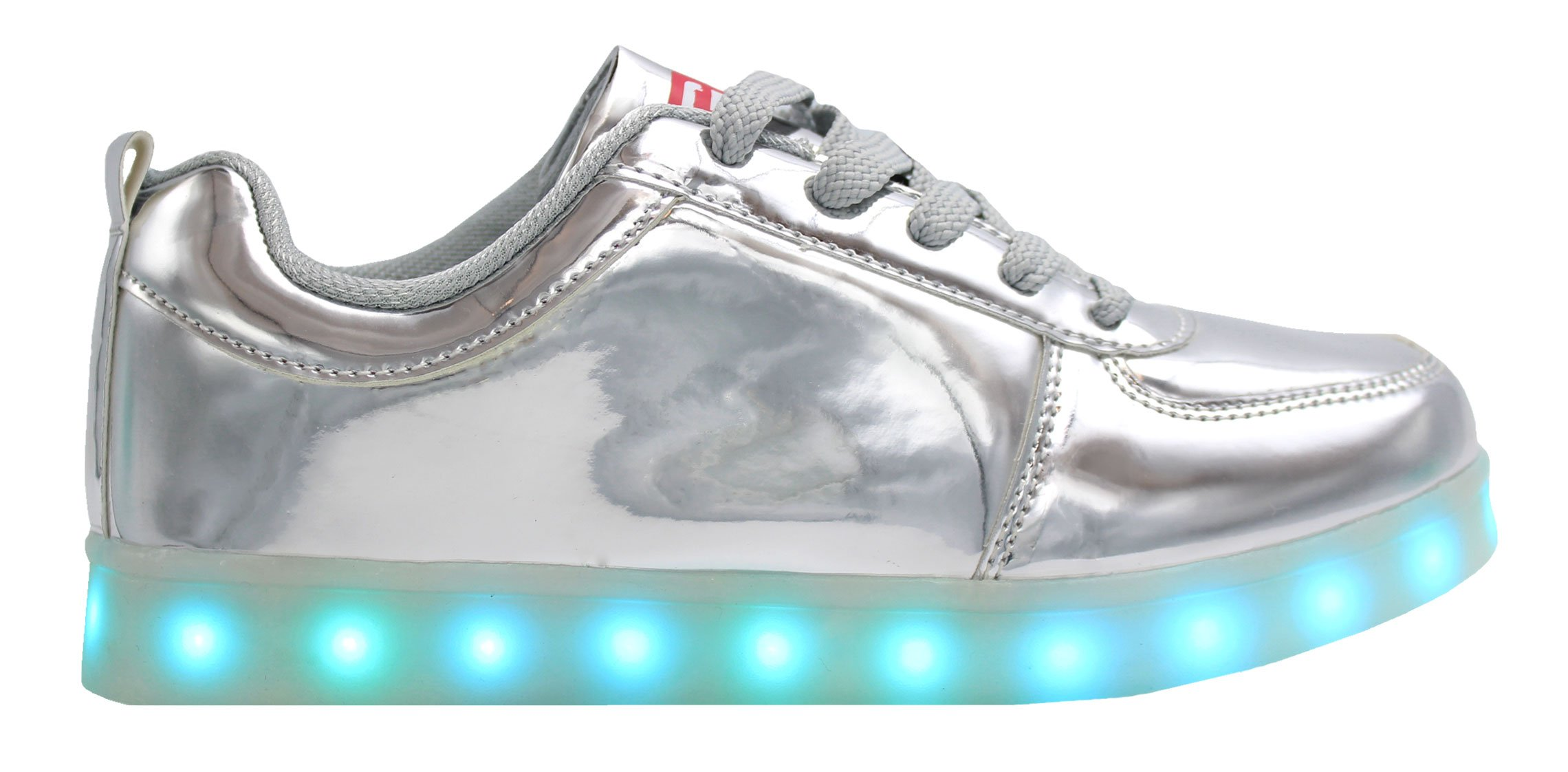 Transformania Toys Galaxy LED Shoes Light Up USB Charging Low Top Men's Sneakers (Silver) 9