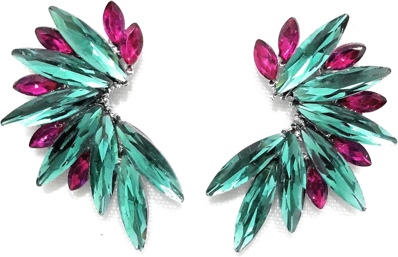 Pendientes Cristales Colores Mujer Pendientes Fiesta Boda Medio Aro, Varios Colores