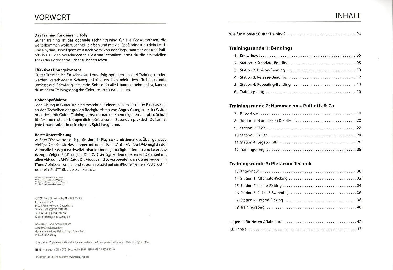 Guitar Entrenamiento Rock - Programa de entrenamiento definitiva para la guitarra eléctrica de Schuster Bauer - Libro con CD, DVD y Dunlop Púa: Amazon.es: ...