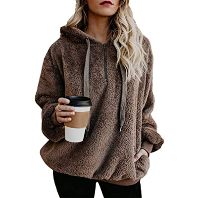 ReachMe Womens Oversized Sherpa Pullover Hoodie with Pockets Fuzzy Fleece Sweatshirt Fluffy Coat at Women's Clothing store