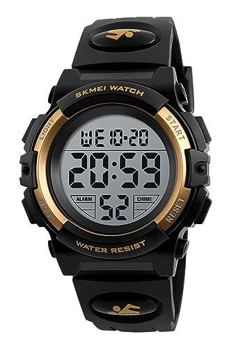 Niños niñas 50 M impermeable reloj digital LED de relojes, reloj de pulsera deportivo, con alarma, cronómetro, niños reloj: Amazon.es: Relojes